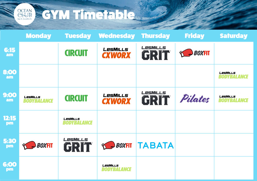 Gym Timetable Sep-18